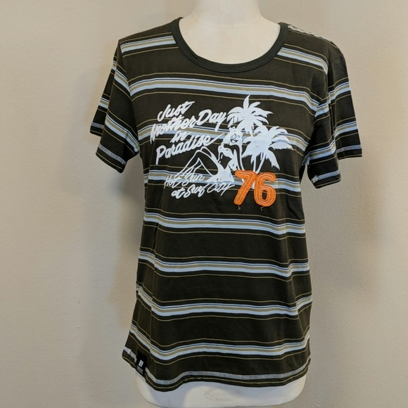 505922e8 vintage surf, fire fly Shirts | Vintage 80s Striped Cotton Tshirt ...